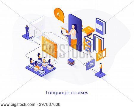 Language Courses Isometric Web Banner. Online Language Tutors, Teaching Service Isometry Concept. E-
