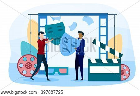 Dramatic Art Abstract Concept. Man Dramatic Actor And Producer Characters Working On Stage In Theate