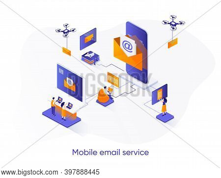 Mobile Email Service Isometric Web Banner. Email Smartphone App Isometry Concept. Social Network Mes