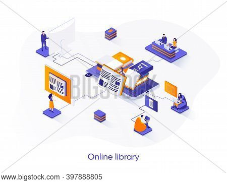 Online Library Isometric Web Banner. E-library Application Isometry Concept. Electronic Books Servic