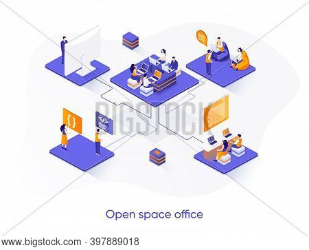Open Space Office Isometric Web Banner. Collaboration At Coworking Open Space Isometry Concept. Comf