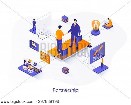 Business Partnership Isometric Web Banner. Business Collaboration And Partners Agreement Isometry Co