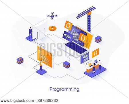 Programming Isometric Web Banner. Full Stack Software Development Isometry Concept. Engineering And