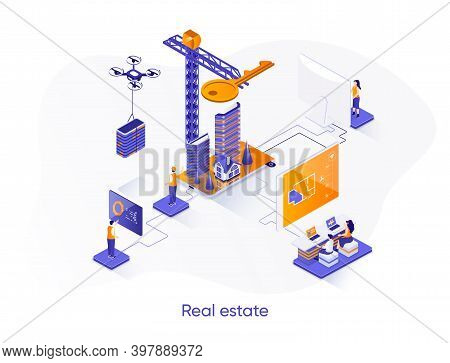 Real Estate Isometric Web Banner. Engineering And Construction Company Isometry Concept. Real Estate