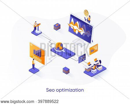 Seo Optimization Isometric Web Banner. Internet Analytics, Online Research Isometry Concept. Website
