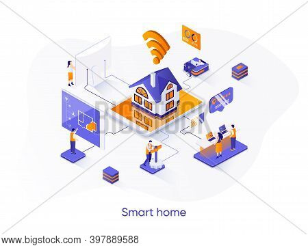 Smart Home Isometric Web Banner. Online Home Control, Monitoring And Management Isometry Concept. Ho