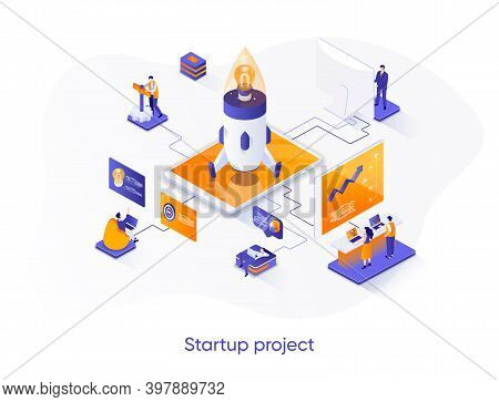 Startup Project Isometric Web Banner. Team Of Startup Founders Launching New Project Isometry Concep