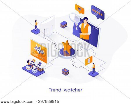 Trend-watcher Isometric Web Banner. Professional Trend Watching Occupation Isometry Concept. Marketi
