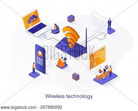 Wireless Technology Isometric Web Banner. Wifi Network Communication Isometry Concept. Internet Shar