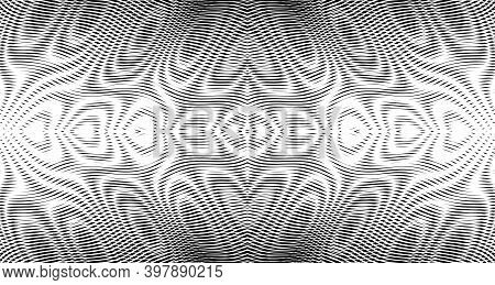 Ornamental Horizontal Abstract Vector Texture Of Lines In Trendy Grey Halftones With Moire Effect. C
