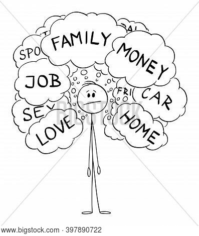 Vector Cartoon Stick Figure Illustration Of Man Thinking About Problems Of His Life Like Home, Sex,