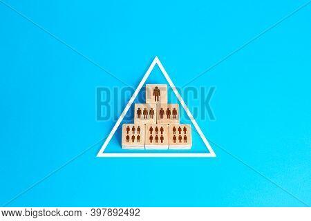Blocks Pyramid Symbolizes The Hierarchy Of Society / Company Organization Model. Conformism System.