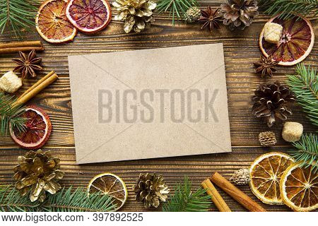 Christmas Card On Wooden Background, Copy Space For Text. Bright Colorful Holiday Decorations. Top V