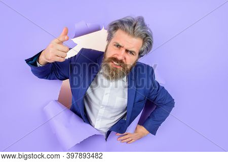 Add. Advertising. Man In Suit. Businessman. Business Concept. Discount. Sale. Through Paper. Insert