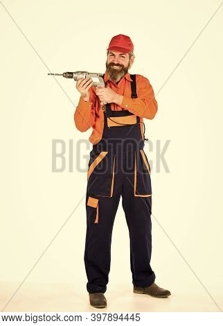 Toolbox Tips Drilling And Fixing. Man In Cap With Drills White Background. Professional Builder Repa