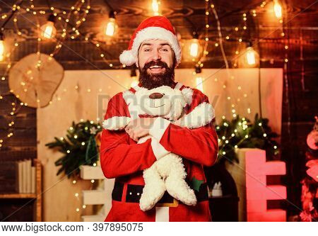 Winter Fundraising Ideas. Charity Concept. Man Bearded. Santa Claus Play With Soft Toy Teddy Bear. C
