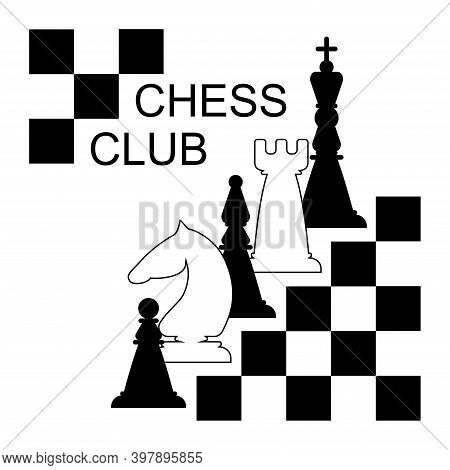 Black And White Chess Pieces. Queen, Bishop, Knight, Castle, Pawn. Vector Illustration.