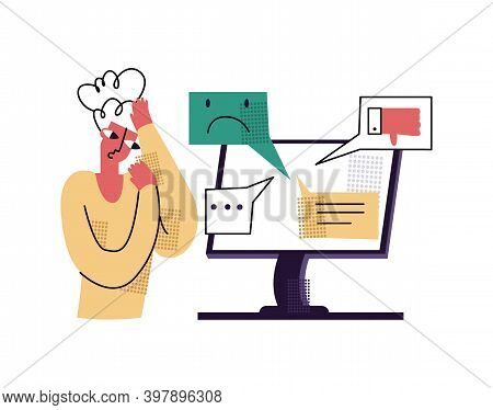 Vector Flat Illustration With Concept Bullying, Aggression, Anger In Comments, Social Networks, Onli