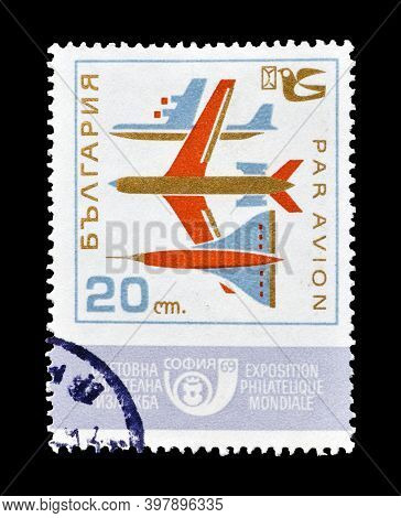 Bulgaria - Circa 1969 : Cancelled Postage Stamp Printed By Bulgaria, That Shows Airplanes And Promot