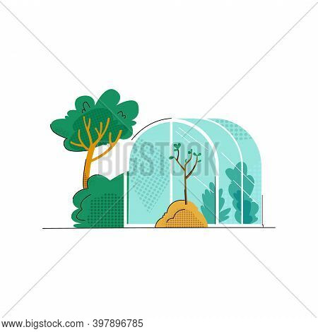 Vector Flat Illustration With Image Of Greenhouse, Tree Planted In Ground. Concept Gardening, Farmin