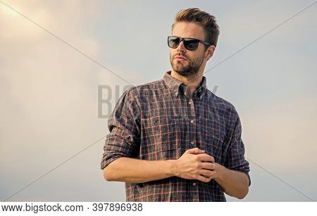 Well Groomed. Men Beauty And Sexuality. Real Men. Sexy Man Sky Background. Macho Man Unshaven Face.
