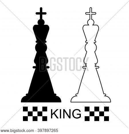 Black And White King Chess Piece On A White Background. Chess Pieces. Chess. Vector Illustration.
