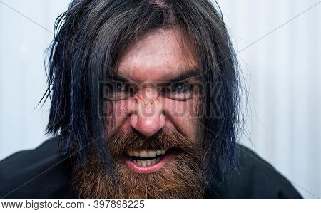 Angry Man With Wet Hair. Barbershop. Male Trendy Hairdo. Perfect Haircut. Aggression. Mature Hipster