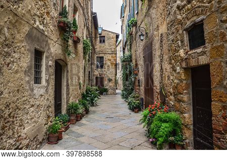 Beautiful View Of Old Traditional Houses And Idyllic Alleyway In The Historic Town. Italy