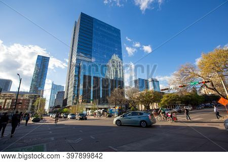 Spring, 2016 - Austin, Texas, Usa - Central Streets Of Texas. Highway In The Center Of The City. Hig