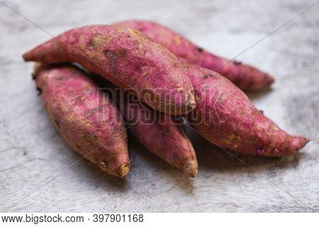 Purple Sweet Potato On Wooden Table, Yam Purple