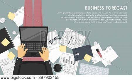 Business Forecast Banner. Business Cocnept. Flat Vector Illustration