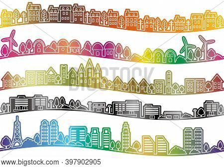 Set Of Seamless Townscape Drawings Isolated On A White Background. Vector Illustration. Horizontally