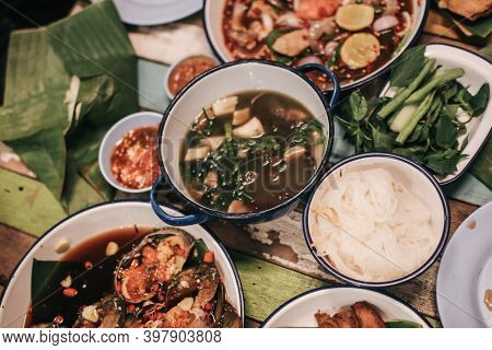 Top View Of Tradition Northeast Food Isaan Delicious On Plate With Fresh Vegetables - Many Variety V