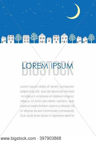 Vector Townscape At Night Illustration With Text Space Isolated On A White Background.