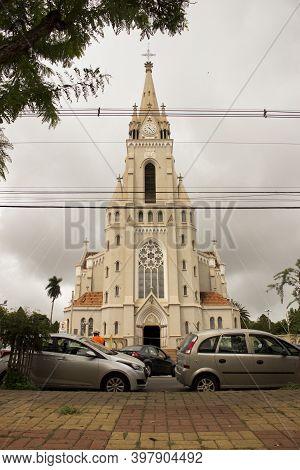 Jau / Sao Paulo / Brazil - 02 21 2020: Mother Church Of Our Lady Of Patronage (- Nossa Senhora Do Pa