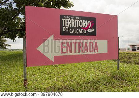 Jau / Sao Paulo / Brazil - 02 21 2020: Shoe`s Territory Shopping Entrance (