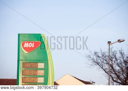 Belgrade, Serbia - March 28, 2019: Logo Of Mol Group On One Of Its Gas Stations Of Belgrade. Mol Is