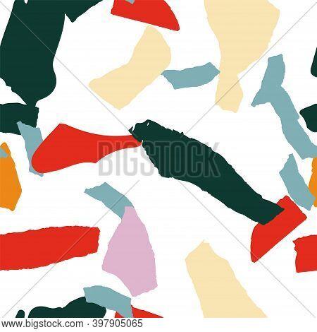 Peach And Orange Terrazzo Tile Vector Seamless Pattern. Fashion Terrazzo Wall Postcard. Gray And Yel