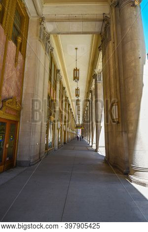 August 4th, 2020, Chicago, Il Civic Opera Building Front Colonnade, Home Of The Lyric Opera Of Chica
