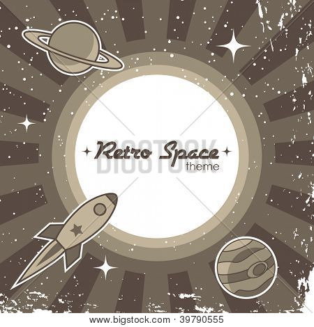 Retro space theme background with rocket