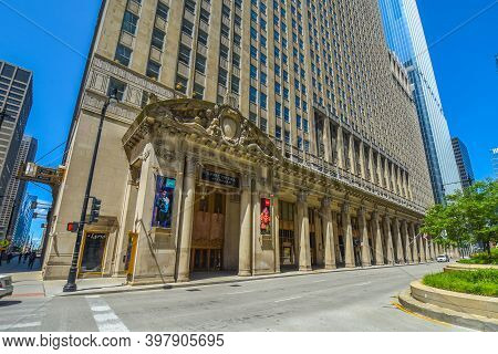 August 4th, 2020, Chicago, Il Civic Opera Building Street Corner Entrance, Home Of The Lyric Opera O