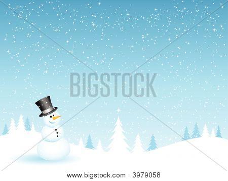 Snowman On A Snowy Night