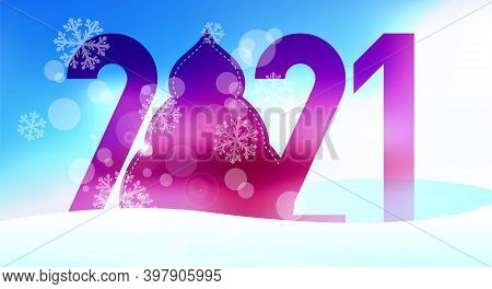 Large Numbers 2021 With Zero In The Shape Of A Christmas Tree In Snowdrifts. Merry Christmas And Hap
