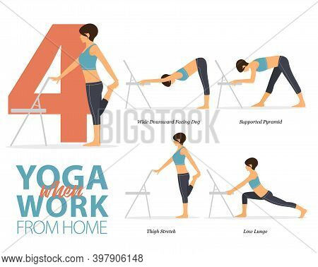 Infographic Of 6 Yoga Poses For Yoga Chair At Home  In Flat Design. Beauty Woman Is Doing Exercise F