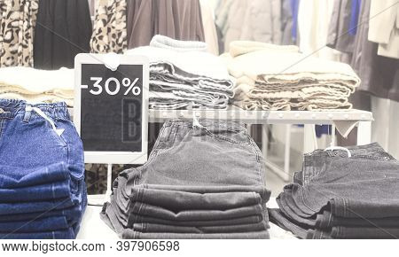 Season Sales.label With Discount Price On Clothing.sales Of Clothes With 30 Percent Discount Price I