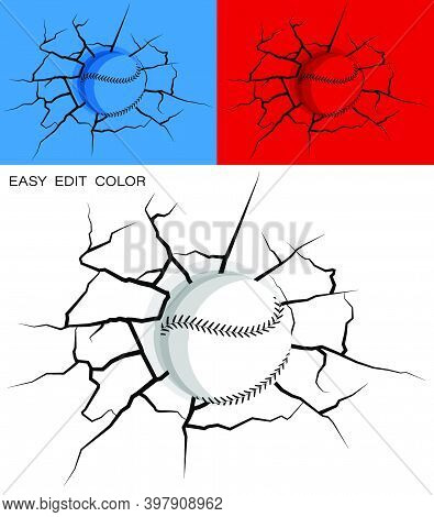 Baseball Hit Wall Powerfully And Damaged, Cracks On Wall. Sports Design Element. American National S