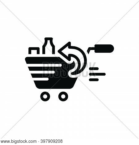 Black Solid Icon For Return Grocery Product Supermarket Market Comeback Regress Repayment Regression