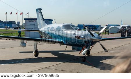 August 30, 2019, Moscow Region, Russia.  Piper Pa-46 Meridian Light Single-engine Aircraft At The In