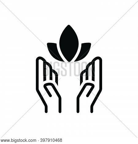 Black Solid Icon For Soul Inspiration Feeling Psyche Yoga Healthy Flower Meditation Natural Prevent