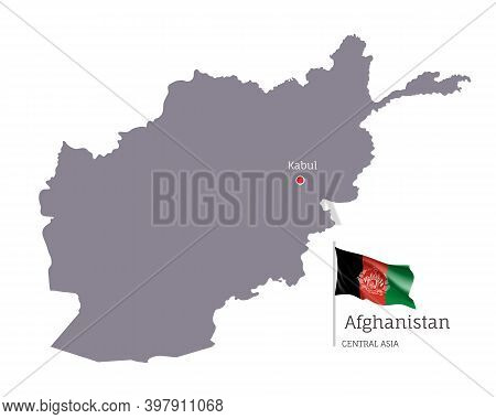 Silhouette Of Afghanistan Country Map. Gray Editable Map Of Afghanistan With Waving National Flag An